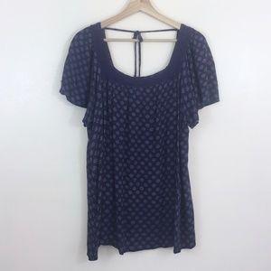 Torrid Blue Printed Top Crochet Neckline Size 2X